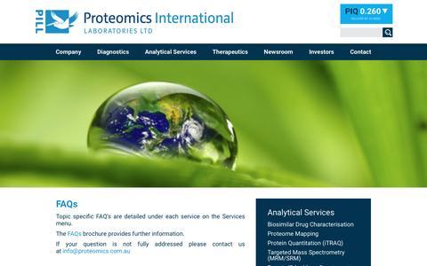 Screenshot of FAQ Page proteomics.com.au - FAQs - Proteomics International - captured Nov. 14, 2016