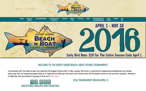 Screenshot of Home Page beachnboat.com - Welcome to the Jersey Shore Beach N Boat Fishing Tournament! - Beach N Boat Fishing Tournament - captured Feb. 11, 2016