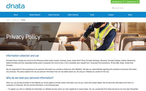 Screenshot of Privacy Page dnata.com - Privacy Policy | dnata - captured Aug. 2, 2016