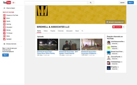 Screenshot of YouTube Page youtube.com - BIRDWELL & ASSOCIATES LLC  - YouTube - captured Oct. 23, 2014