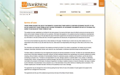 Screenshot of Terms Page bankwest-sd.com - Terms of Use | BankWest, South Dakota - captured Sept. 24, 2014