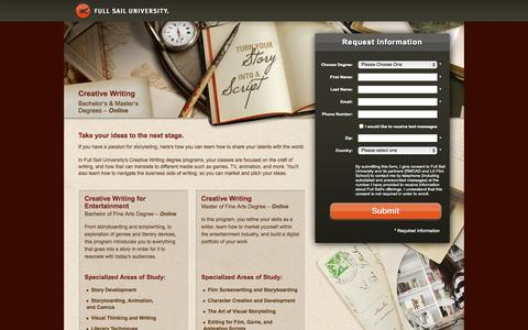 Screenshot of Landing Page fullsail.edu - Full Sail University - captured Oct. 27, 2014