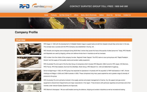 Screenshot of About Page rfd.com.au - Survitec Group Australia - About Us - Company Profile - captured Oct. 7, 2014