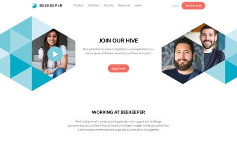 Screenshot of Jobs Page beekeeper.io - Careers - Beekeeper - captured July 2, 2019