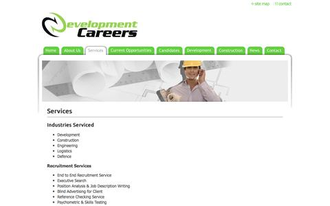 Screenshot of Services Page developmentcareers.com.au - DEVELOPMENT CAREERS - Services - captured Aug. 1, 2016