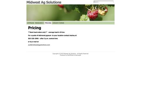 Screenshot of Pricing Page midwestagsolutions.com - Pricing « Midwest Ag Solutions - captured Nov. 28, 2016
