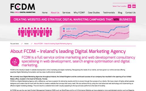 Screenshot of About Page fcdm.ie - About FCDM - Ireland's leading Digital Marketing Agency - captured Oct. 5, 2014