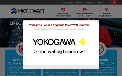 Screenshot of Home Page microwatt.com - Gas Detection, Flame Detectors, B149.3 Burner Management Systems, Burner Controls, Fire Gas LifeCycle Safety Engineering, Oil Gas Mobility Solutions - Western Canada, Alberta, British Columbia, Saskatchewan – MicroWatt - captured Oct. 18, 2017