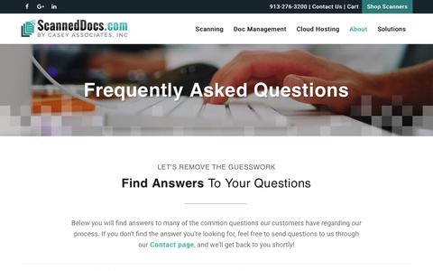 Screenshot of FAQ Page scanneddocs.com - Scanning & Document Management Questions and Answers | FAQ - captured Sept. 26, 2018