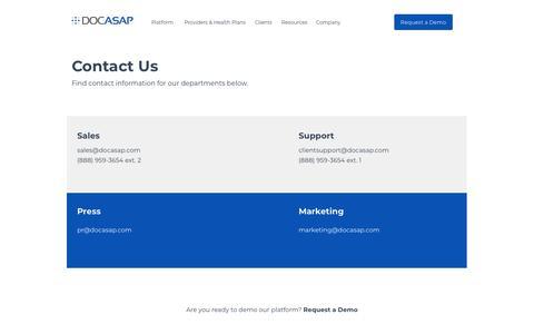 Screenshot of Contact Page docasap.com - Contact Us — DocASAP - captured June 11, 2019