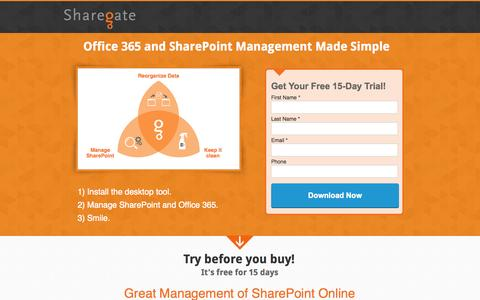 Screenshot of Landing Page share-gate.com - The simplest Management tool for SharePoint and Office 365 - captured July 7, 2015