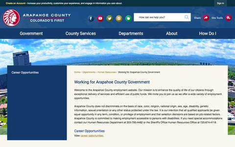 Screenshot of Jobs Page arapahoegov.com - Working for Arapahoe County Government | Arapahoe County, CO - Official Website - captured Sept. 24, 2018