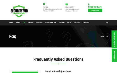 Screenshot of FAQ Page securitybud.com - Faq – SECURITYBUD INC. – COMMERCIAL & CANNABIS SECURITY SYSTEMS INTEGRATORS - captured Oct. 20, 2018