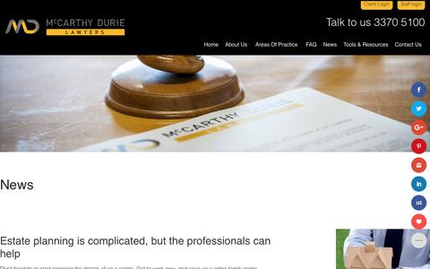 Screenshot of Press Page mdl.com.au - News - McCarthy Durie Lawyers - captured Nov. 18, 2016