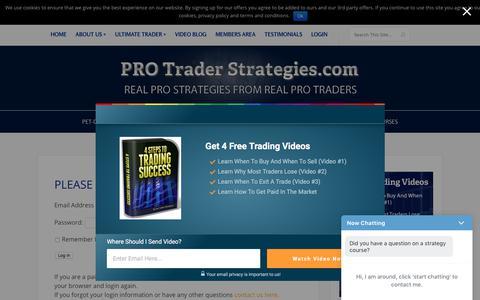 Screenshot of Login Page protraderstrategies.com - Members Area - - captured Sept. 23, 2018