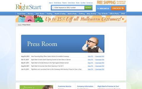 Screenshot of Press Page rightstart.com - Press Room  - Rightstart.com - captured Sept. 23, 2014