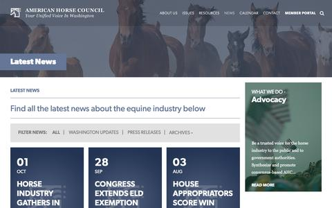 Screenshot of Press Page horsecouncil.org - Latest News - American Horse Council - captured Oct. 3, 2018