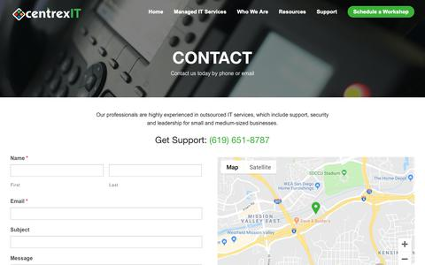 Screenshot of Contact Page centrexit.com - Contact Us - captured Oct. 11, 2018