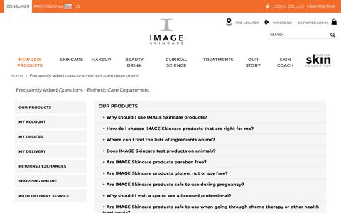 Screenshot of FAQ Page imageskincare.com - Frequently Asked Questions - Esthetic Care Department - IMAGE NOW. Age later. - captured July 26, 2018