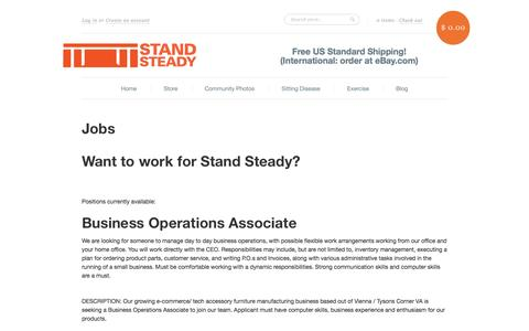 Screenshot of Jobs Page standsteady.com - Jobs at Stand Steady Standing Desks - captured Oct. 30, 2014