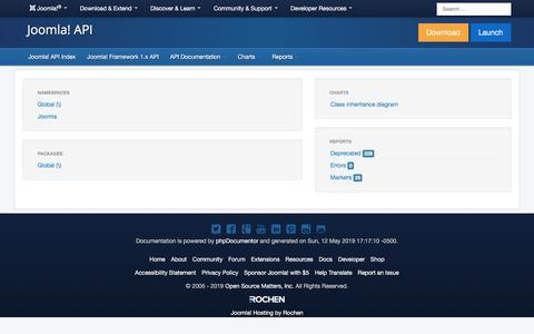 Screenshot of Developers Page joomla.org - Joomla! Framework 1.x API - captured Nov. 6, 2019