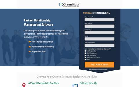 Screenshot of Landing Page channeltivity.com - Channeltivity Partner Relationship Management Software - captured March 3, 2018