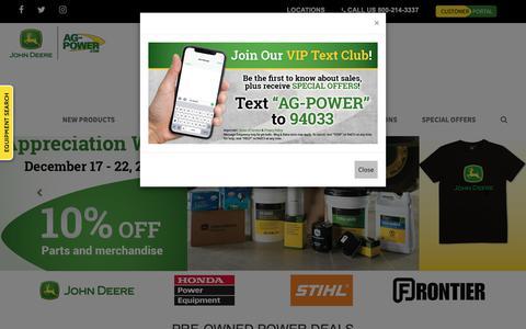 Screenshot of Home Page ag-power.com - Welcome to Ag-Power | Premier John Deere and STIHL Dealer - captured Dec. 18, 2018