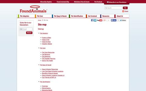 Screenshot of Site Map Page foundanimals.org - Site map - captured Sept. 22, 2014