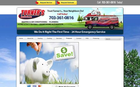 Screenshot of Products Page turnersserviceco.com - Home Heating and Cooling Products - captured April 13, 2017