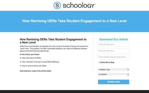 Screenshot of Landing Page schoology.com - How Remixing OERs Take Student Engagement to a New Level - captured Jan. 23, 2018