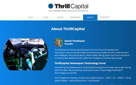 Screenshot of About Page thrillcapital.com - ABOUT | Thrill Capital - captured Sept. 21, 2018