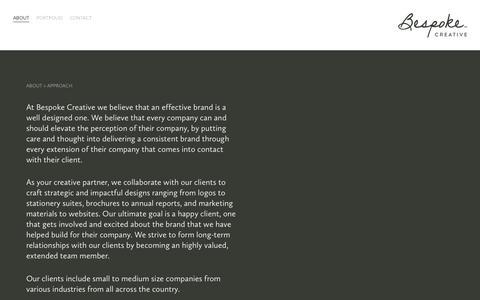 Screenshot of About Page bespokedallas.com - APPROACH — Bespoke Creative - captured Oct. 5, 2018