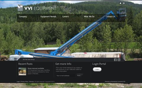 Screenshot of Home Page vviequipment.com - VVI Equipment | Equipment & Tool Rental based in Revelstoke, BC - captured Oct. 7, 2014