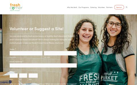 Screenshot of Signup Page freshcornercafe.com - Volunteer — Fresh Corner — Good Food on a Mission - captured Dec. 10, 2018