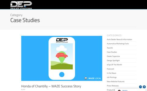 Screenshot of Case Studies Page dealereprocess.com - Case Studies - Dealer eProcess - captured June 22, 2018