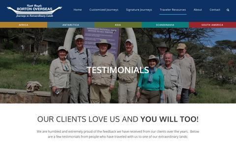 Screenshot of Testimonials Page bortonoverseas.com - Testimonials - Borton Overseas - captured July 13, 2018