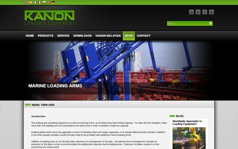Screenshot of Press Page kanon.nl - News: Twin Arm | Kanon Loading Equipment - captured Oct. 6, 2014