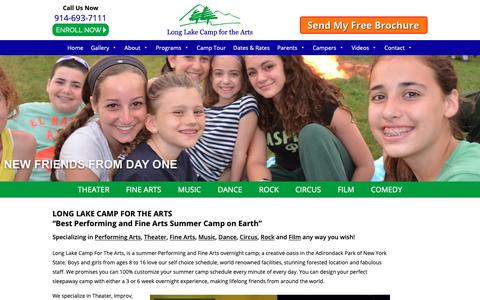 Screenshot of Home Page longlakecamp.com - Performing Arts Camp and Fine Arts Camp | Long Lake Arts Camp | Music | Dance | Acting | Rock Bands | Circus - captured Sept. 30, 2018