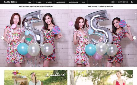Screenshot of Home Page fairebelle.com - Dressing you from head to toe! - captured Sept. 19, 2014