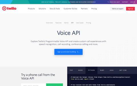 Screenshot of Developers Page twilio.com - Voice API - Flexible calling and contact center solutions   Twilio - captured Nov. 28, 2019