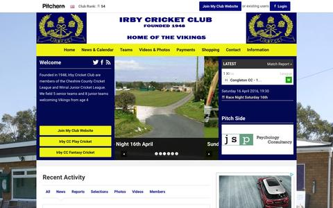 Screenshot of Home Page irbycricketclub.co.uk - Irby Cricket Club - captured March 11, 2016