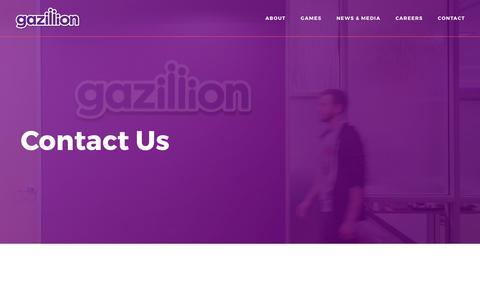Screenshot of Contact Page gazillion.com - Contact :: Gazillion, Inc. - captured July 5, 2017