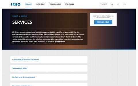 Screenshot of Services Page ino.ca - INO - Services en optique-photonique - captured Dec. 16, 2018