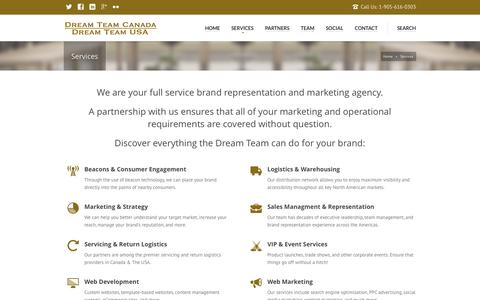 Screenshot of Services Page dreamteamamericas.com - Our Services | Dream Team Canada & USA - captured Nov. 3, 2014