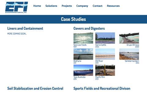 Screenshot of Case Studies Page environmentalfabrics.com - EFI - Environmental Fabrics, Inc. - captured Nov. 9, 2016