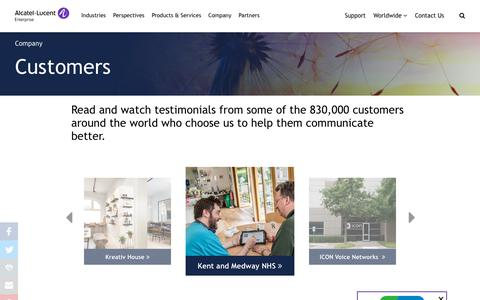 Screenshot of Case Studies Page al-enterprise.com - Customers | Alcatel-Lucent Enterprise - captured Nov. 2, 2018