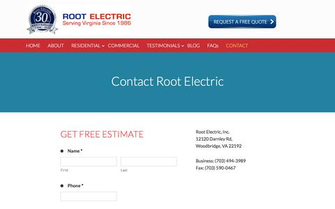 Screenshot of Contact Page rootelectric.com - Contact Root Electric - Root Electric Services - captured Dec. 20, 2016