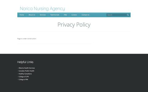 Screenshot of Privacy Page norica.ca - Privacy Policy | Norica Nursing Agency - captured Oct. 7, 2014