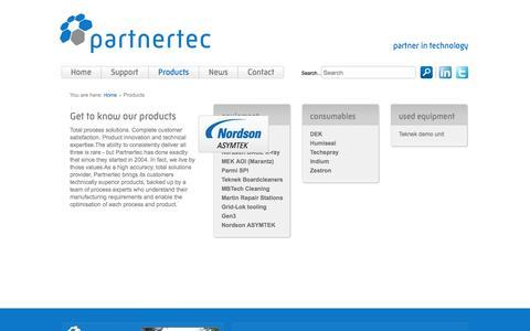Screenshot of Products Page partnertec.nl - Products - Partnertec - captured Oct. 2, 2014