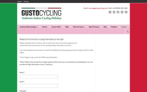 Screenshot of Contact Page gustocycling.com - Contact Us - Gusto Cycling - captured Sept. 30, 2014